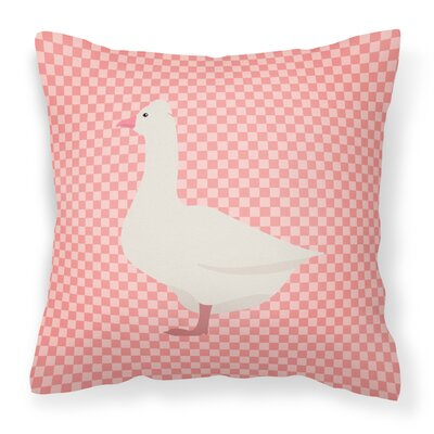 Eclectic Goose Check Outdoor Throw Pillow Color: Pink