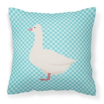 Eclectic Goose Check Outdoor Throw Pillow Color: Blue