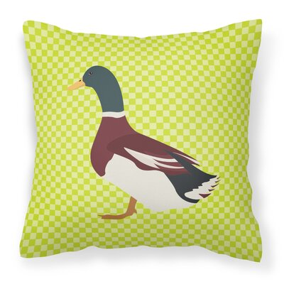 Eclectic Duck Check Fabric Outdoor Throw Pillow Color: Green