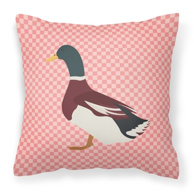 Eclectic Duck Check Fabric Outdoor Throw Pillow Color: Pink