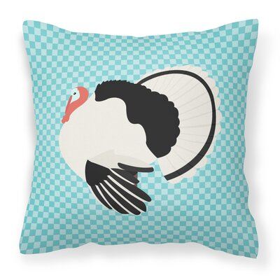 Turkey Check Square Outdoor Throw Pillow Color: Blue