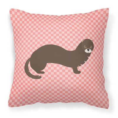 Mink Check Outdoor Throw Pillow Color: Pink