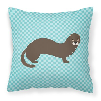 Mink Check Outdoor Throw Pillow Color: Blue
