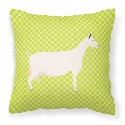 Eclectic Goat Check Square Fabric Outdoor Throw Pillow Color: Green