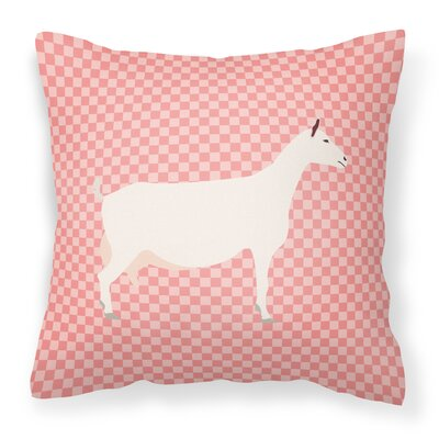 Eclectic Goat Check Square Fabric Outdoor Throw Pillow Color: Pink