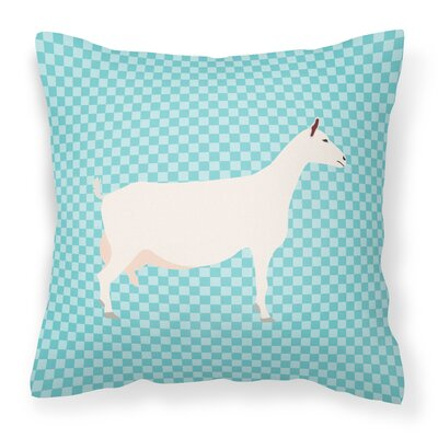 Eclectic Goat Check Square Fabric Outdoor Throw Pillow Color: Blue
