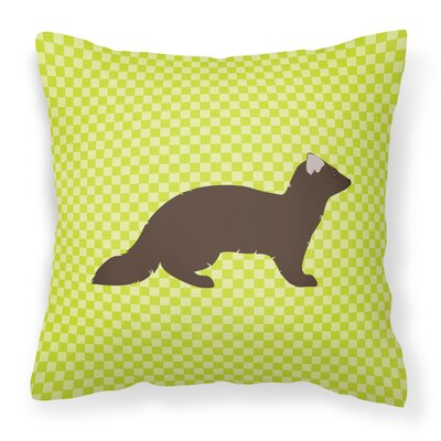 Check Outdoor Throw Pillow Color: Green