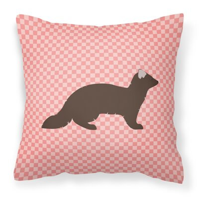 Check Outdoor Throw Pillow Color: Pink