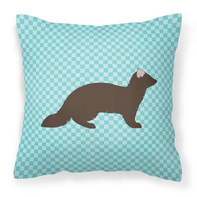 Check Outdoor Throw Pillow Color: Blue