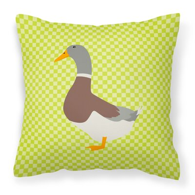 Eclectic Duck Check Outdoor Throw Pillow Color: Green