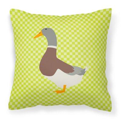 Eclectic Duck Check Outdoor Throw Pillow Color: Green