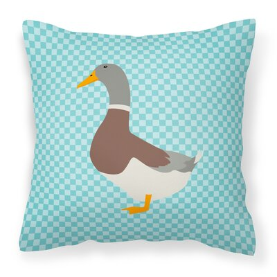 Eclectic Duck Check Outdoor Throw Pillow Color: Blue