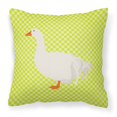 Goose Square Outdoor Throw Pillow Color: Green