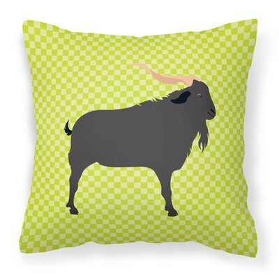 Goat Outdoor Throw Pillow Color: Green