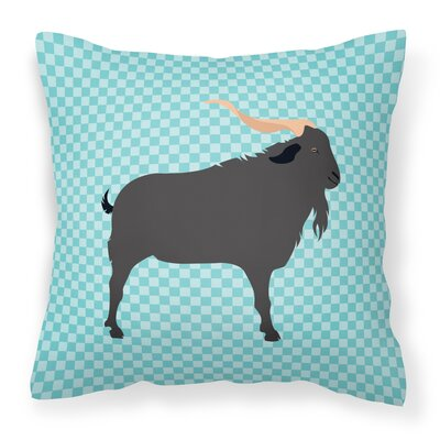 Goat Outdoor Throw Pillow Color: Blue