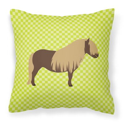 Pony Horse Outdoor Throw Pillow Color: Green