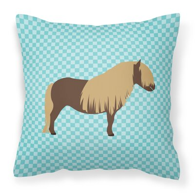 Pony Horse Outdoor Throw Pillow Color: Blue