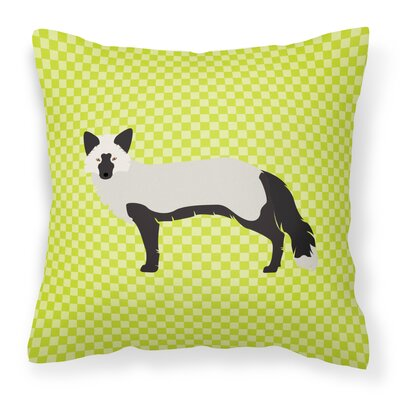Fox Square Outdoor Throw Pillow Color: Green