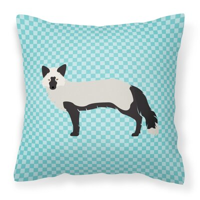 Fox Square Outdoor Throw Pillow Color: Blue