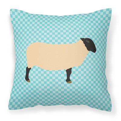 Suffolk Sheep Check Outdoor Throw Pillow Color: Blue
