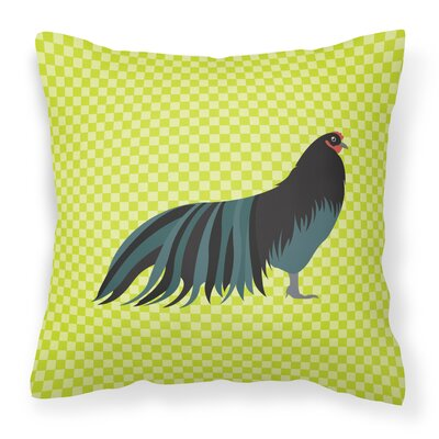 Chicken Check Square Outdoor Throw Pillow Color: Green