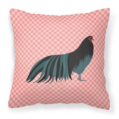 Chicken Check Square Outdoor Throw Pillow Color: Pink
