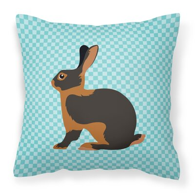 Rabbit Check Outdoor Throw Pillow Color: Blue