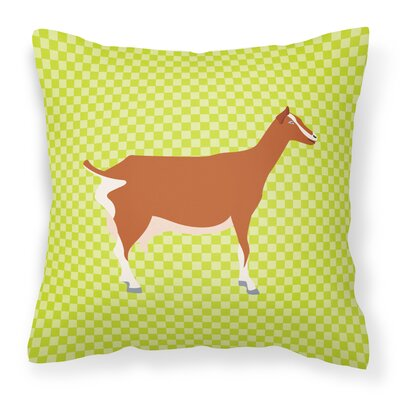 Goat Check Square Fabric Outdoor Throw Pillow Color: Green