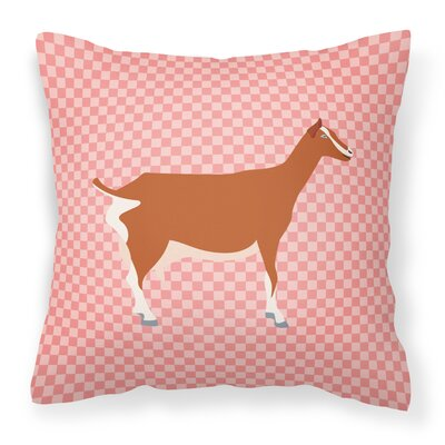 Goat Check Square Fabric Outdoor Throw Pillow Color: Pink