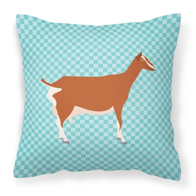 Goat Check Square Fabric Outdoor Throw Pillow Color: Blue