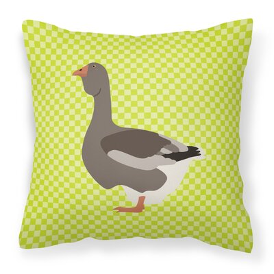 Goose Fabric Outdoor Throw Pillow Color: Green