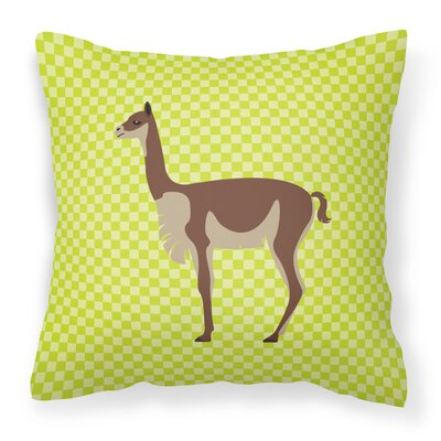 Vicugna or Vicuna Outdoor Throw Pillow Color: Green