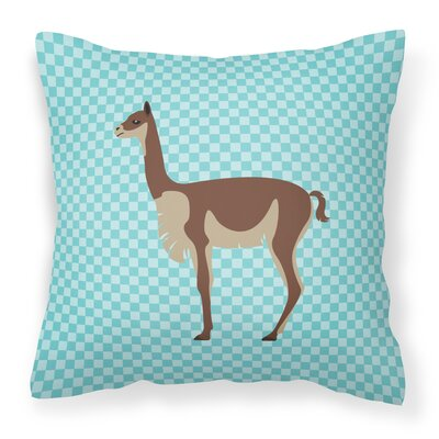 Vicugna or Vicuna Outdoor Throw Pillow Color: Blue