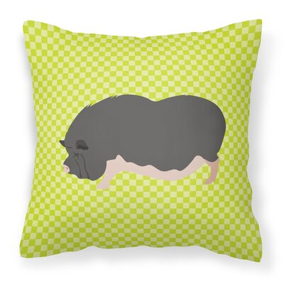 Pot-Bellied Pig Outdoor Throw Pillow Color: Green