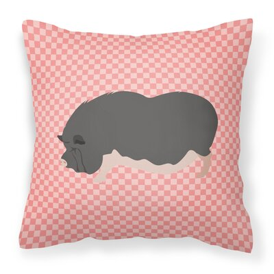 Pot-Bellied Pig Outdoor Throw Pillow Color: Pink