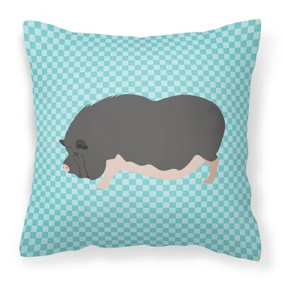 Pot-Bellied Pig Outdoor Throw Pillow Color: Blue