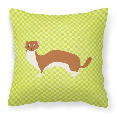 Weasel Check Outdoor Throw Pillow Color: Green
