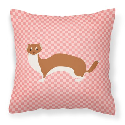 Weasel Check Outdoor Throw Pillow Color: Pink