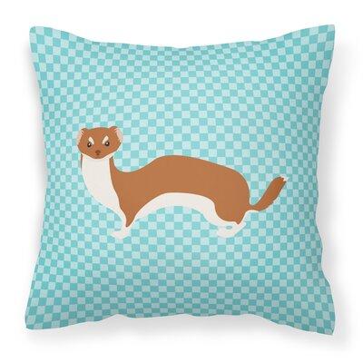 Weasel Check Outdoor Throw Pillow Color: Blue