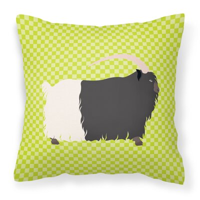 Necked Goat Check Outdoor Throw Pillow Color: Green