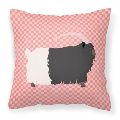 Necked Goat Check Outdoor Throw Pillow Color: Pink