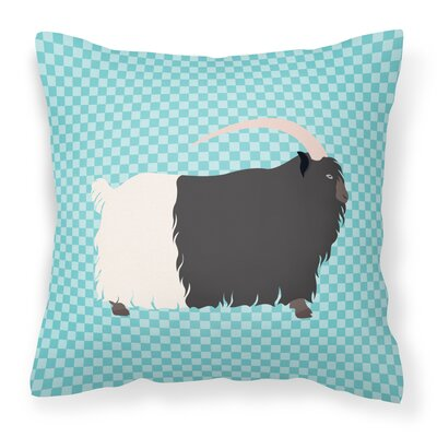 Necked Goat Check Outdoor Throw Pillow Color: Blue