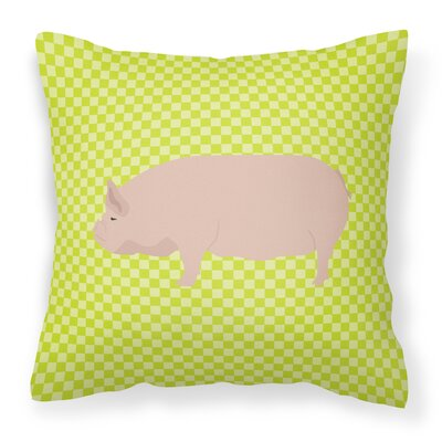 Pig Check Square Canvas Outdoor Throw Pillow Color: Green