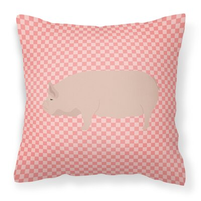 Pig Check Square Canvas Outdoor Throw Pillow Color: Pink