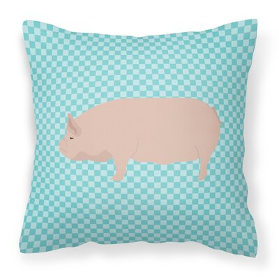 Pig Check Square Canvas Outdoor Throw Pillow Color: Blue
