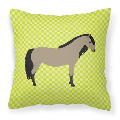 Pony Horse Check Outdoor Throw Pillow Color: Green