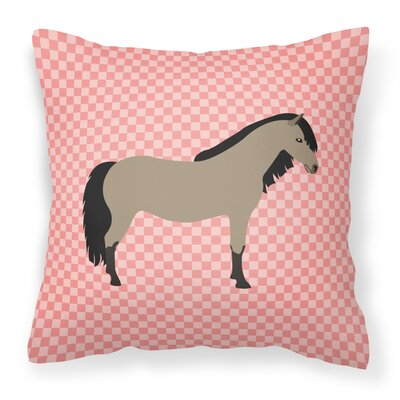 Pony Horse Check Outdoor Throw Pillow Color: Pink