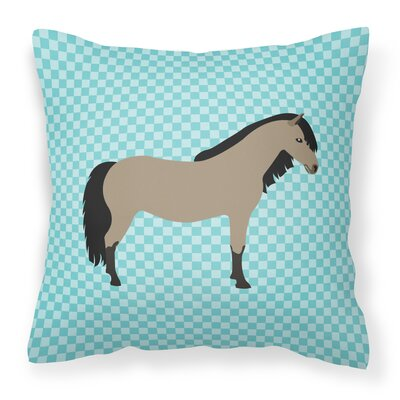 Pony Horse Check Outdoor Throw Pillow Color: Blue