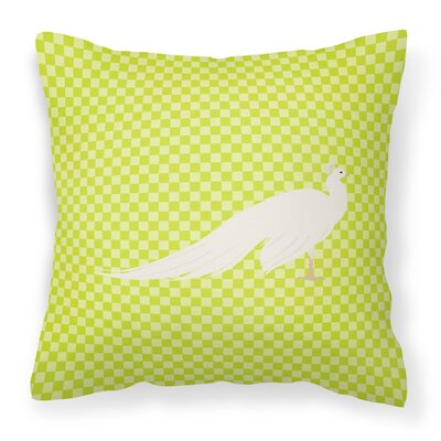 Eclectic Peacock Peafowl Check Outdoor Throw Pillow Color: Green