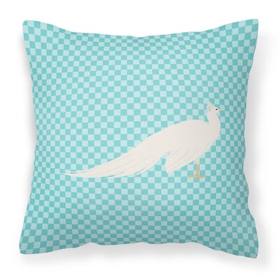 Eclectic Peacock Peafowl Check Outdoor Throw Pillow Color: Blue